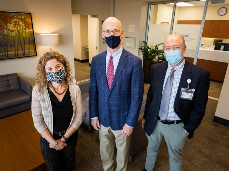 Dr. Julie Schumacher, left, Dr. Scott Rodgers, center, and Dr. Jefferson Parker say a $6 million grant shared by UMMC and the Mississippi State Department of Health will help many Mississippians get treatment for, or avoid, opioid addiction.