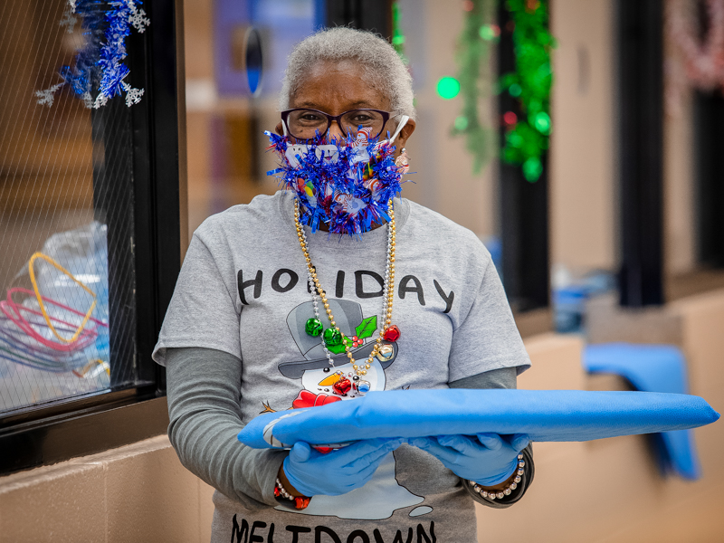 Dental assistant Marilyn Lee won second place in the School of Dentistry's mask-decorating contest.