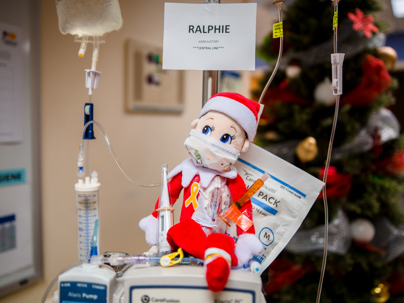 Ralphie, the Elf on the Shelf on the Batson Tower's third floor, has a central line as part of his hospital stay.