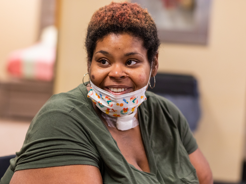 Cessie Stringer smiles months after conquering COVID-19 with care from University of Mississippi Medical Center experts.