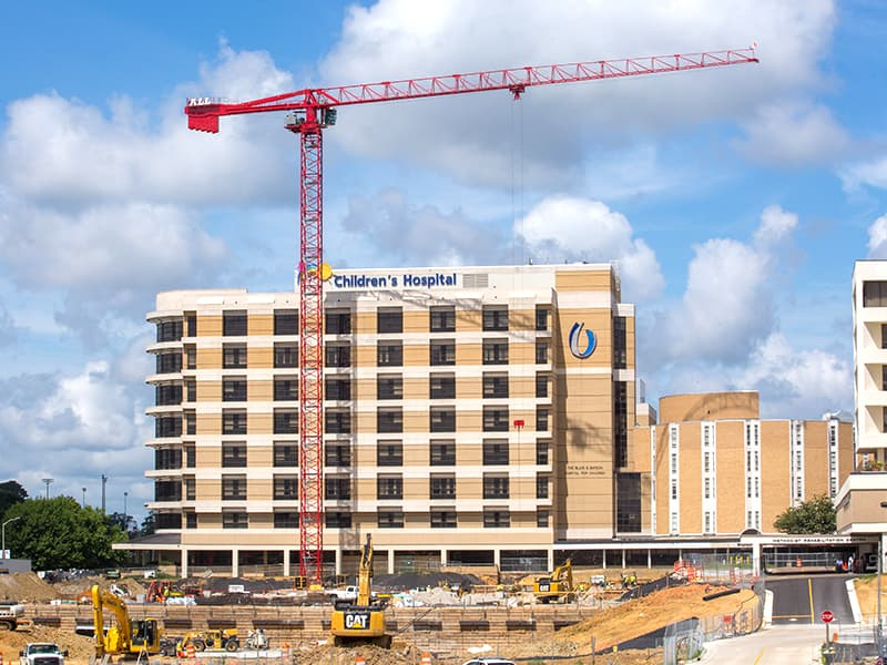 While the new building construction focus shifts from the medical education building and the Translational Research Center to the Children's of Mississippi expansion, seen here, a number of projects now under way at UMMC promise to meet a vital need for the state: additional adult patient capacity.