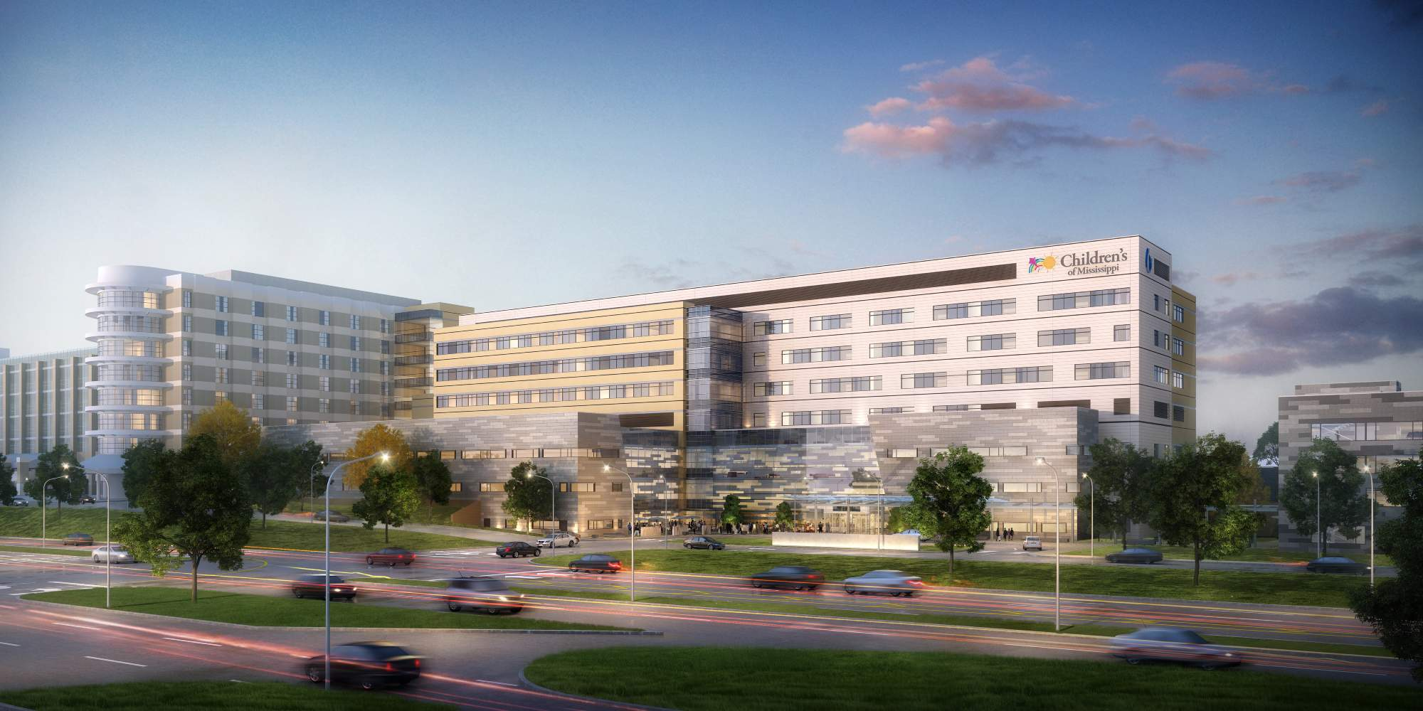 Rendering of the Kathy and Joe Sanderson Tower at Children's of Mississippi Hospita