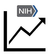 Graph of an arrow pointing upward to represent increase of NIH funding.